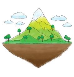 Floating island mountain doodle vector