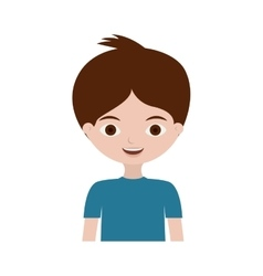 half body young boy with t-shirt vector image
