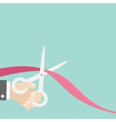 Hand scissors cut the ribbon left Opening vector image
