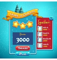 Level completed game window vector image vector image