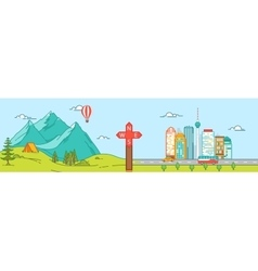 Mountains and City Travel concept vector image
