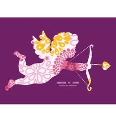 pink field flowers shooting cupid silhouette frame vector image