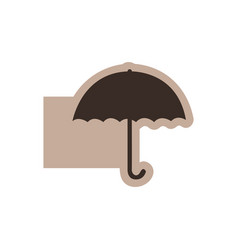 brown emblem sticker umbrella icon vector image