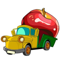 Cartoon truck transports in the back of the apple vector