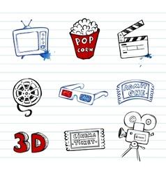 Cinema symbols set vector image