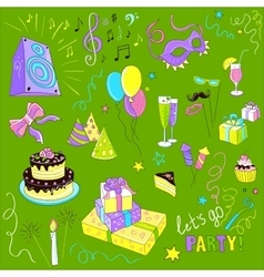 Colored Set of sketch party vector image