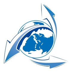 Earth with arrows blue icon vector image