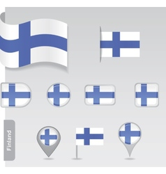 Finland icon set of flags vector image