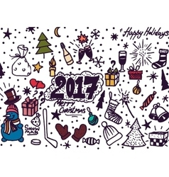 Hand-Drawn Christmas Sketchy Notebook Doodles- vector image