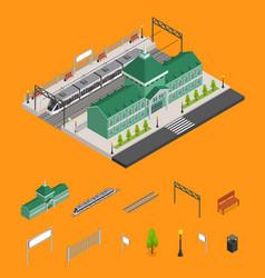 railway station platform and train isometric vector image