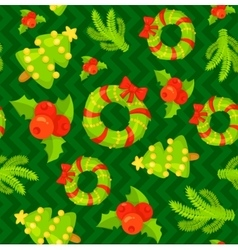 Seamless pattern with cute cartoon Christmas vector image