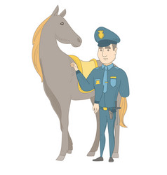 Young caucasian police officer and horse vector