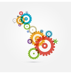 Abstract Colorful Cogs - Gears on White Background vector image