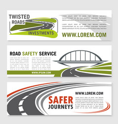 Banners for road safety service company vector