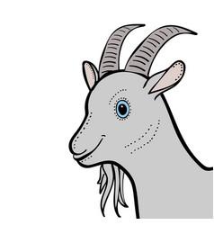 Goat cute funny cartoon head vector
