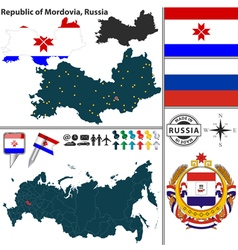 Map of Republic of Mordovia vector image vector image