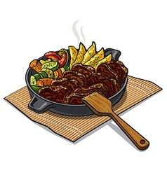 roasted meat and vegetables vector image
