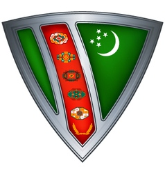 steel shield with flag turkmenistan vector image vector image