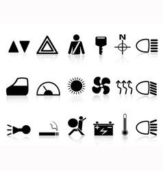 car dashboard icons set vector image vector image