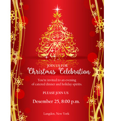 Christmas party invitation with gold decorative vector