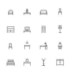Home furniture icons set line icon vector
