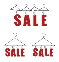 sale on hanger for clothes in red color vector image