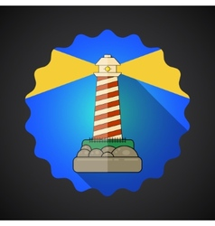 Travel lighthouse flat icon vector