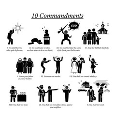10 commandment icons and pictograph depict ten vector