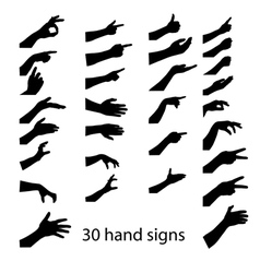 30 hands sign vector image