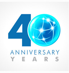 40 anniversary connecting logo vector