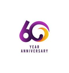 60 years anniversary purple template design vector