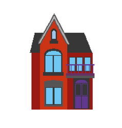 a house in pixel art style vector image