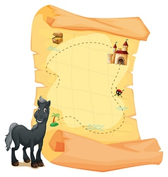 A treasure map and a gray horse vector