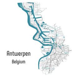 Antwerpen map belgium with river and roads title vector