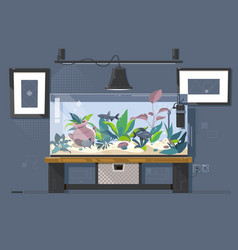 Aquarium natural with fish and plants vector