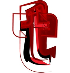 Artistic font letter t vector image