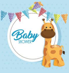 baby shower card with cute giraffe vector image