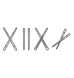 Bamboo chopsticks icons set outline style vector