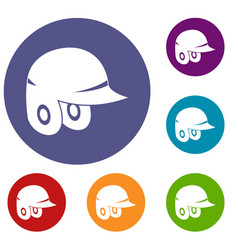 Baseball helmet icons set vector