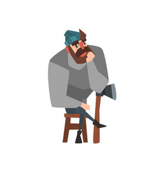 Bearded man sitting on wooden chair leaning on ax vector