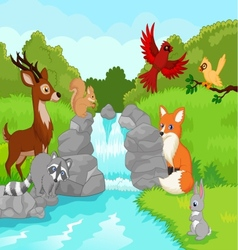 Beautiful waterfall with wild animals cartoon vector