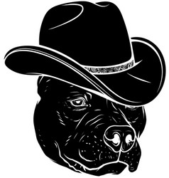 Black silhouette head pitbull with fedora hat vector