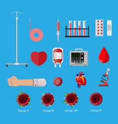 Blood donation day set human donates blood vector
