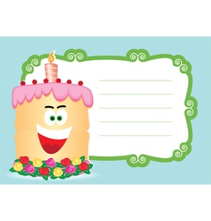 cake with candle for birthday postcard vector image