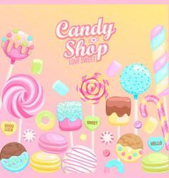 candy shop inviting banner vector image