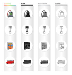 Car lift pump and other equipment cartoon icons vector