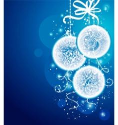Christmas balls blueback vector image