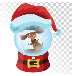 Christmas glass magic ball with a dog a vector