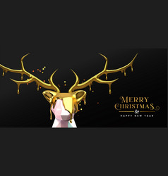 christmas new year 3d melted gold low poly deer vector image