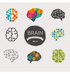Collection of brain creation idea icons vector